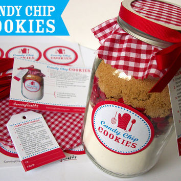 Cookie Jar Decorations Candy Chip Cookie recipe with ribbon, cloth topper, labels, and gift tags