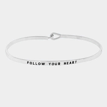 """Follow Your Heart"" Skinny Mantra Cuff Bracelet"