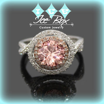 Peach Pink Moissanite Engagement Ring 1ct, 6.5mm Round Peach Pink Moissanite in a 14k White and Rose Gold Diamond Halo Twist Shank Setting