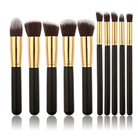 Best Luxurious Synthetic Make Up Brush Set Cosmetics Foundation Blending Blush Eyeliner Face Powder Brush Makeup Brush Kit (10pcs, Golden Black)