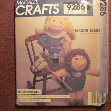 "SALE Uncut 1980's McCall's Sewing Pattern, 9286! Blossom Babies Stuffed Dolls/Soft Sculptured Brother-Sister Dolls 16"" Toy Horse & Tiny Baby"