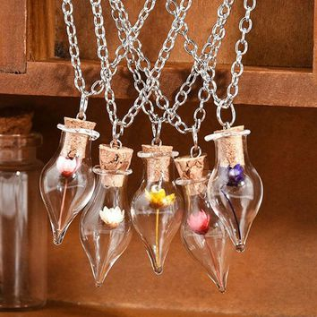 Link Chain Necklace Dry Flower Lucky Wish Glass Bottle Chains Necklaces