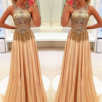 A Line Round Neck Sleeveless Beading Prom Dress with Sweep Train, Sweep Train Beaded Formal Dress