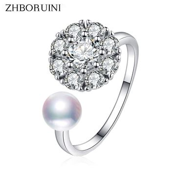 ZHBORUINI 2018 Fashion Hot Pearl Ring Rotate Zircon Natural Freshwater Pearl Jewelry Spinning 925 Silver Rings For Women Gift