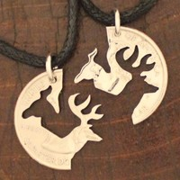 Buck and Doe necklaces, friendship and relationship jewelry, hand cut coins