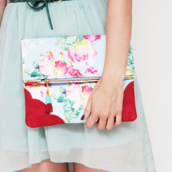 FLORA 35  / Floral cotton & Natural leather folded clutch - Ready to Ship