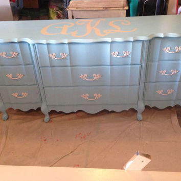 French Provincial Dresser with Painted Monogram