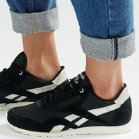Reebok | Reebok Classic Trainers In Black With Silver Trim at ASOS