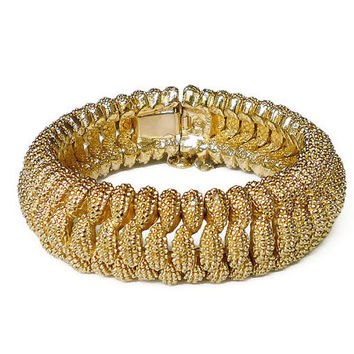 Panetta Bracelet, Gold Tone, Honeycomb Woven, Wide Statement, Designer, Mod Modernist, Vintage Jewelry