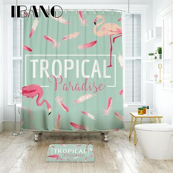 IBANO TROPICAL Flamingo Shower Curtain Waterproof Polyester Fabric Bath Curtain For The Bathroom With 12PCS Plastic Hooks Mat