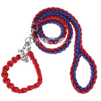 Adjustable Nylon Braided Collar + Leash for Pet Dog (Size M)