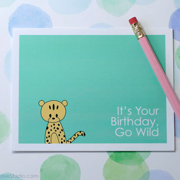 Cute Cheetah Birthday Card Handmade Greeting Card Cute Card Happy Birthday Card Blank Birthday Card Friend Birthday Card Fun Card Go Wild