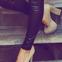 She Has High Standards Pumps: Taupe Suede | Hope's