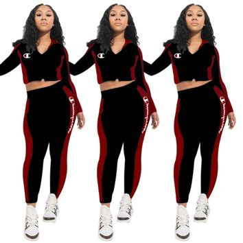 Champion Autumn And Winter Fashion New Embroidery Letter Long Sleeve Top And Pants Two Piece Suit Black