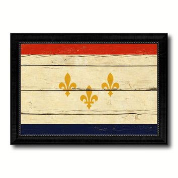 New Orleans  City Louisiana State Vintage Flag Canvas Print Black Picture Frame