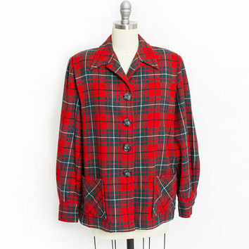 Vintage 1950s PENDLETON 49er Jacket - Wool Plaid Red & Green Sportswear - Large