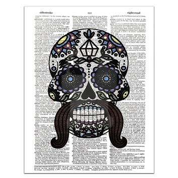 Sugar Skull (#2) Male - Day of the Dead - Halloween - Dictionary Page Art Print, 8x11 UNFRAMED