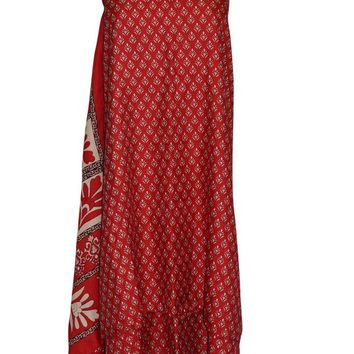 Bohemian Sari Wrap Dress Printed Reversible 2 layer Premium Silk blend Skirts