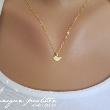Tiny Bird Charm Necklace in Gold - Little Small Bird Charm - Gold Filled Fine Chain - Perfect Gift - morganprather