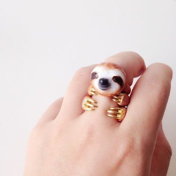 Orange Sloth 3 Piece Ring Set - Enamel ring, Animals Ring, Animals Jewelry, Enamel Brass Jewelry, Trio Ring, Animal, Gift, Cutie, Mary Lou