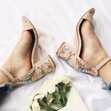Zapatos Mujer summer sandalias de salto ankle strap women sandals chunky high heels pumps shoes woman elegant embroider BY17735