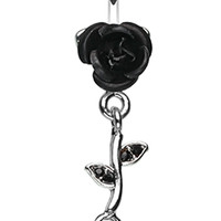 Bright Metal Rose Vine Dangle Belly Button Ring