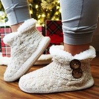Chestnuts Roasting Slippers: Beige