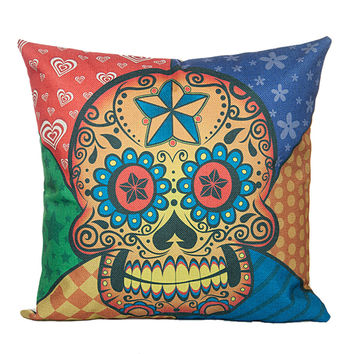 "18"" x 18"" Cotton Linen Square Throw Pillow Case Cushion Cover Skull Pattern  P1006"