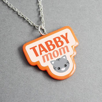 Necklace Tabby Mom - Mothers Day Gift, Cat Necklace, Cat Lover Gift, Birthday Gift, Statement Necklace, Pendant Necklace, Gift for Women