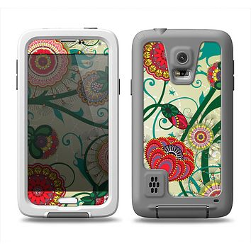 The Vintage Green Floral Vector Pattern Samsung Galaxy S5 LifeProof Fre Case Skin Set