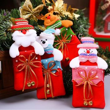 Santa Sacks Christmas Candy Storage Box Decorations for Home Gift Biscuit Casual Food Storage Jar Christmas Window Ornament
