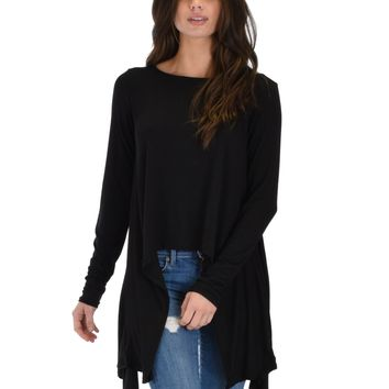 Lyss Loo Shift and Swing Long Sleeve Black Tunic Top