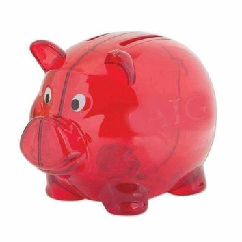 "Red 4"""" Plastic Piggy Bank Case Pack 100"