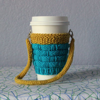 Knitted coffe cozy. Hands-free carrying. Valentine's gift under 20. Starbucks cup sleeve. Turquoise. Mustard yellow.  Eco-friendly. Handmade