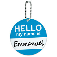 Emmanuel Hello My Name Is Round ID Card Luggage Tag