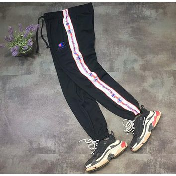 Champion side stitching color casual pants classic string logo print trousers F-AA-XDD Black