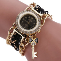 Women's Watch Ladies Braided Band Rhinestone Analog Quartz Wrist Watches Feminino Relogio Relojes CF