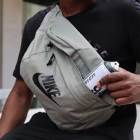 NIKE Fashion New Letter Hook Print Multifunction Women Men Canvas Waist Bag Shoulder Bag Gray
