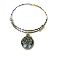 Tree of Life Charm Bracelet - Adjustable Tree of Life Bangle Bracelet - Silver Jewelry - Alex and Ani Inspired - Stacking Bangles