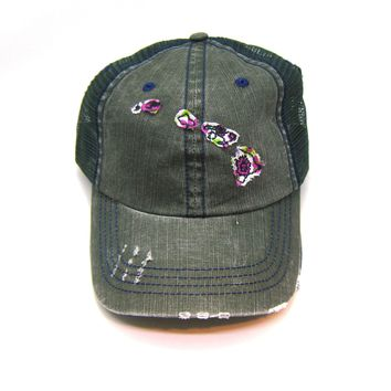 Hawaii Trucker Hat - Distressed - Floral Fabric State Cutout