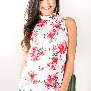 Can't Help Myself Coral Floral Top