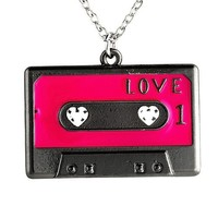 "Unique Women / Girl I Love Cassette Heart Charm Necklace Pendant & 16"" Chain"