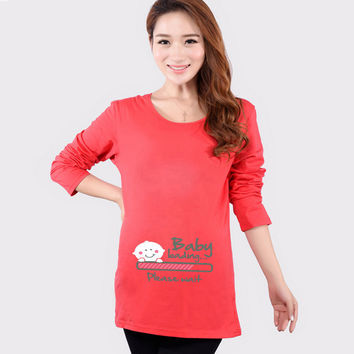 HOT Funny Maternity Shirts Baby Loading T Shirt Pregnant Women Tops Tees Clothes Premama Wear Clothing Pregnancy Clothes Autumn