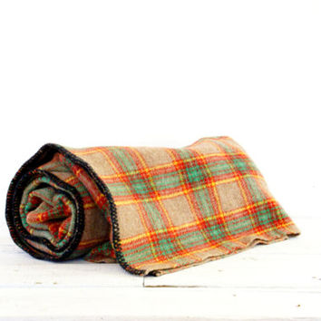 Plaid Woven Wool Blanket // Throw // Green Beige Yellow Red