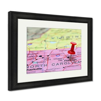 Framed Print, Raleigh Pinned On A Map Of USA