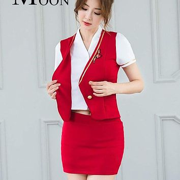 MOONIGHT Women Cosplay Costumes Stewardess Air Hostess Uniform Role Play Costumes Clothes Slim-cut Skirt Hot Macchar Cosplay Catalogue