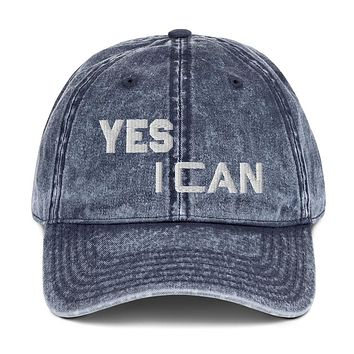 """"""" YES I CAN""""  Positive Motivational & Inspiring Quoted Embroidery Vintage Cotton Twill Cap"""
