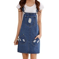 Summer women denim dress Casual loose overalls dresses Preppy style big pocket hole decorate Plus size XXL M223