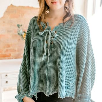 Washed Chunky Lace Up Sweater -Teal