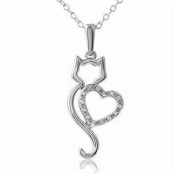 Lovers Cat Pendant Necklace for Women